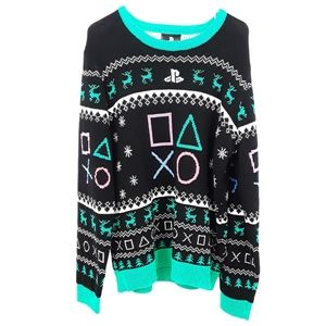 PlayStation Black Green and Pink Holiday Sweater